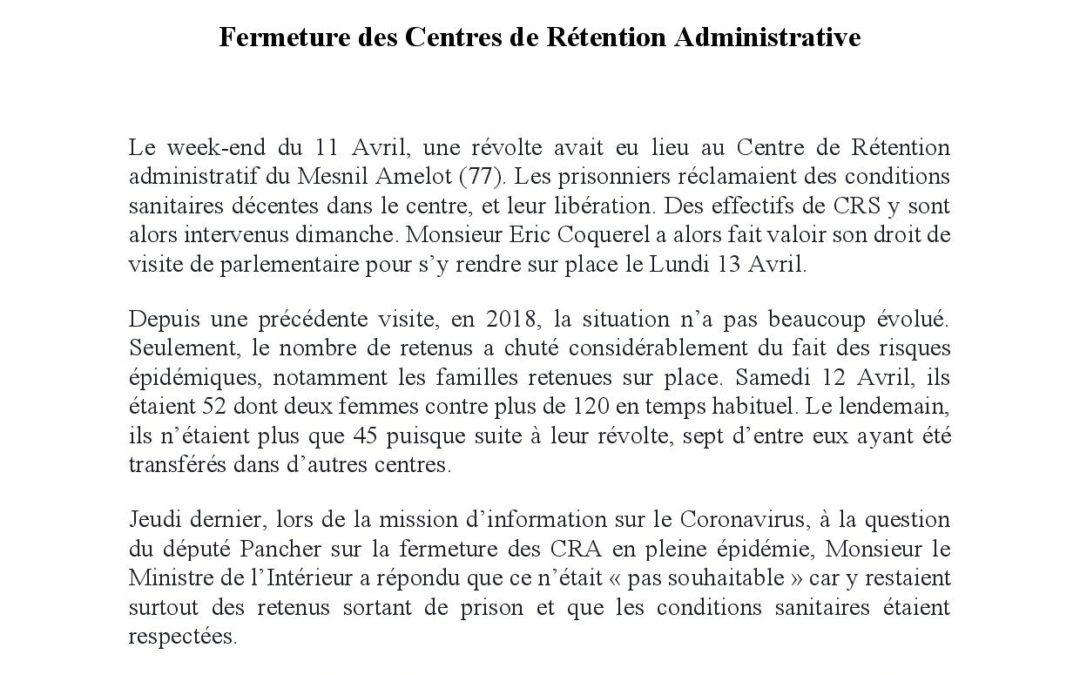 POUR LA FERMETURE DES CENTRES DE RÉTENTION ADMINISTRATIVE – Question écrite à Christian Castaner